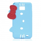 Hello Kitty Style Protective Silicone Case for Samsung i9100 - Blue + Red