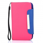 KALAIDENG Protective PU Leather Flip-Open Case for HTC G21/X315e - Deep Pink + Blue