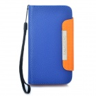 KALAIDENG Protective PU Leather Case w/ Strap for HTC G21 / X315E - Blue + Orange