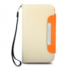 KALAIDENG Protective PU Leather Case w/ Strap for HTC G21 / X315E / G14XL - Beige + Orange