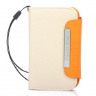 KALAIDENG Protective PU Leather Flip-Open Case for Samsung S5368 - Beige + Orange
