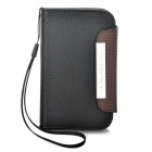 KALAIDENG Protective PU Leather Case w/ Strap for Samsung S5368 - Black + Coffee