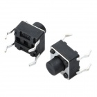 PA66 DC 12V 50mA Tact Switch - Preto (100-Piece Pack / 6 x 6 x 6 mm)