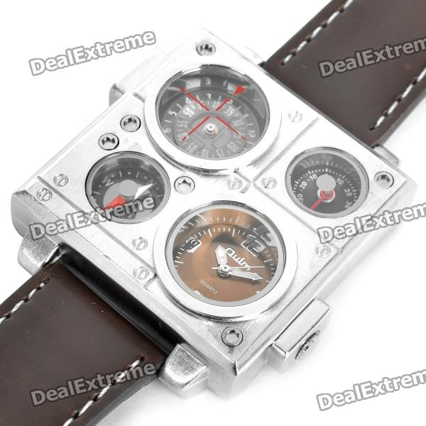 Sports Dual Time Zone Display Wrist Watch with Thermometer & Compass - Brown (2 x SR626SW)