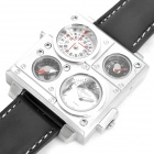 Sports Dual Time Zone Display Wrist Watch with Thermometer & Compass - Black + Silver (2 x SR626SW)