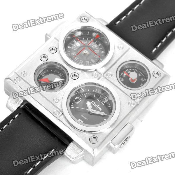 Sports Dual Time Zone Display Wrist Watch with Thermometer & Compass - Black (2 x SR626SW)