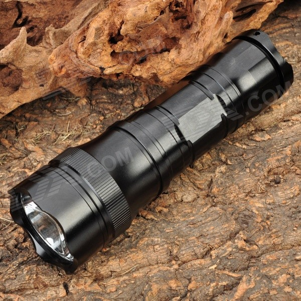 Aurora SH-3AA 800LM 5-Mode Memory White LED Flashlight w/ Strap - Black (3xAA/1x26650)