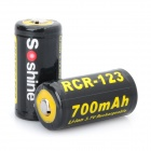 Soshine RCR-123 3.7V 700mAh Rechargeable Li-ion Batteries with Battery Case (Pair)