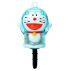 Cute Doraemon Style 3.5mm Anti-Dust Plug w/ Flashing LED for Cell Phone - Blue (2 x CR2032)