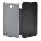 Designer's Protective Case with Twill Leather for Samsung i9220 Galaxy Note - Black + Grey Black