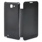 Designer's Protective Leather + Aluminum Alloy Wire Drawing Back Case for Samsung i9220 - Black
