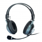 Stylish Folding Gaming Headphones with Microphone - Dark Green + Black (3.5mm Audio + USB Plug)