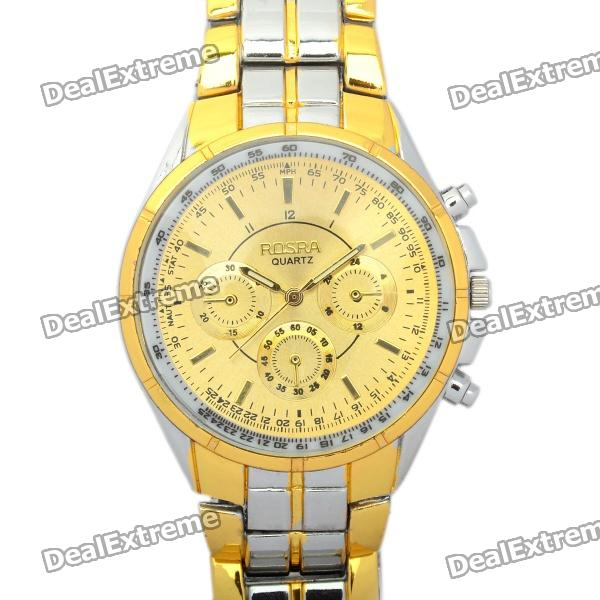 ROSRA Stylish Stainless Steel Men's Quartz Wrist Watch - Golden + Silver (1 x 377A)
