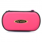 Protective Artificial Leather Hard Carrying Pouch w/ Carabiner Clip for PS Vita - Deep Pink