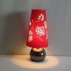 Red Table Light with Stylish Floral Patterned Shade (220-240V)