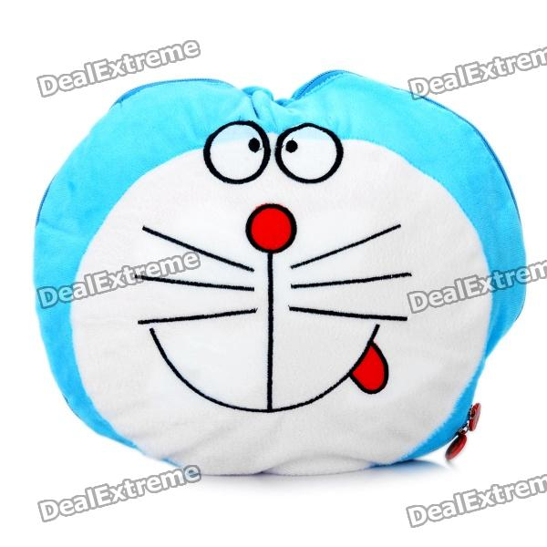Cute Cartoon Style Folding Blanket Pillow Cushion for Car / Home - Doraemon Doll (Light Blue)