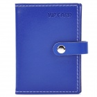Stylish PU Leather Vertical Card Holder Case Bag - Deep Blue (10-Pocket)