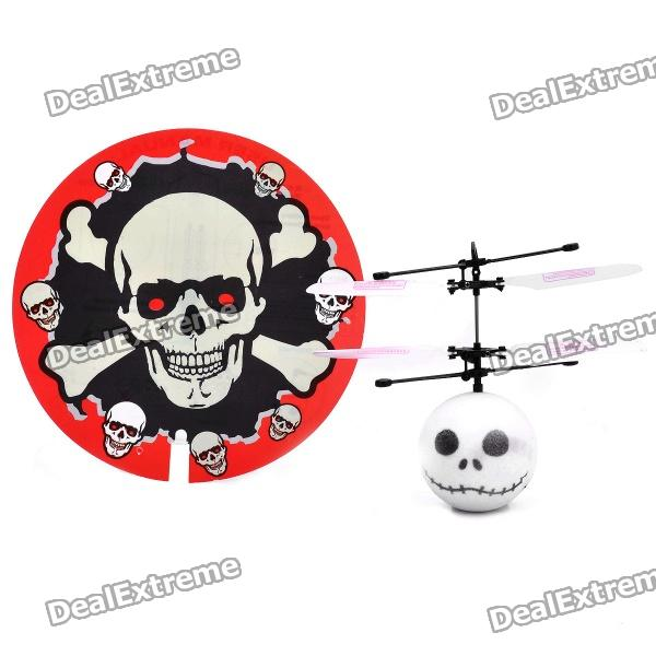 Jack Skeleton Style Infrared Flying Saucer Mini Magic Flyer Toy - White + Black