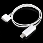 USB-Stecker an Apple 30 Pin Stecker Daten / Ladekabel w / Dekorative Water Flow LED Strip - Weiss (80cm)