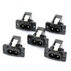 AC 250V 7A Flat Plug Power Socket Outlet - Black (5-Piece Pack)