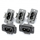 AC 250V 7A plana Plug Power Socket Outlet - Negro (5-pieza Pack)