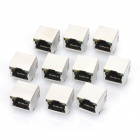 RJ45 Network Socket with Indicator Lights - Black + Silver (AC 125V / 10-Piece Pack)