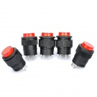 R16-503 Non-Locked 16mm 2-Pin Push Button Switch - Red + Black (220V / 5-Piece Pack)