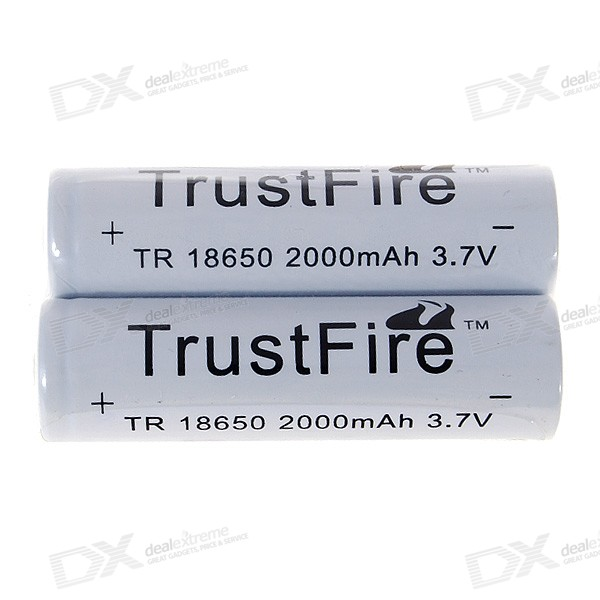 TrustFire 2000mAh 3.7V TR 18650 Battery (2-Pack) 5pcs electric bicycle battery 12v rechargeable customized 12v 60ah lithium battery pack for ups led light solar street light