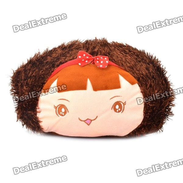 Cute Cartoon Style Folding Blanket Pillow Cushion for Car / Home - Mocmoc Doll (Brown)