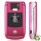 "Refurbished Motorola RAZR V3x WCDMA Flip Phone w/2.2"" LCD Screen, Single SIM and Java - Rose Red"