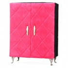 Elegant Armoire Style Jewelry Box Case w/ 3 Drawers / Cosmetic Makeup Mirror - Deep Pink + Black