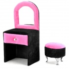 Simple Dressing Table + Matching Chair Style Jewelry Box Case with Mirror - Deep Pink + Black