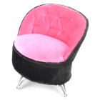 Elegant Sofa Chair Style Jewelry Box Case w/ Cosmetic Makeup Mirror - Deep Pink + Black