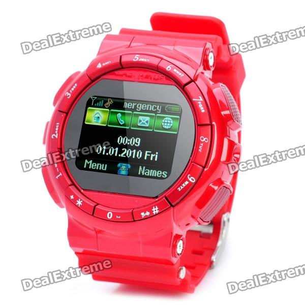 "Watch Style GD920 GSM Phone w/ 1.3"" Resistive Screen, Single SIM, Quadband and FM - Red"