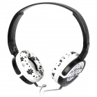 DR-802 Headset Headphone - White + Black (3.5mm Jack / 1.5m-Cable)