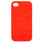 Protective Anaglyph Castle Style Silicone Case for iPhone 4 / 4S - Red