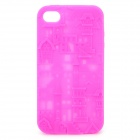 Protective Anaglyph Castle Style Silicone Case for iPhone 4 / 4S - Deep Pink