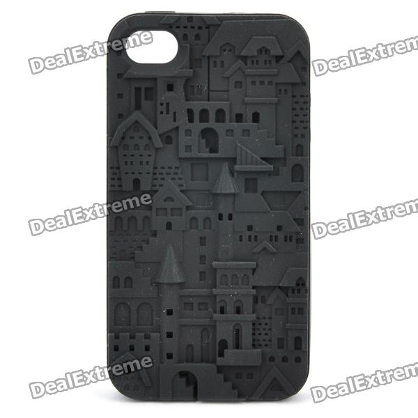 Protective Anaglyph Castle Style Silicone Case for Iphone 4 / 4S - Black stylish bubble pattern protective silicone abs back case front frame case for iphone 4 4s