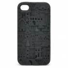 Protective Anaglyph Castle Style Silicone Case for Iphone 4 / 4S - Black