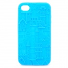Protective Anaglyph Castle Style Silicone Case for iPhone 4 / 4S - Blue