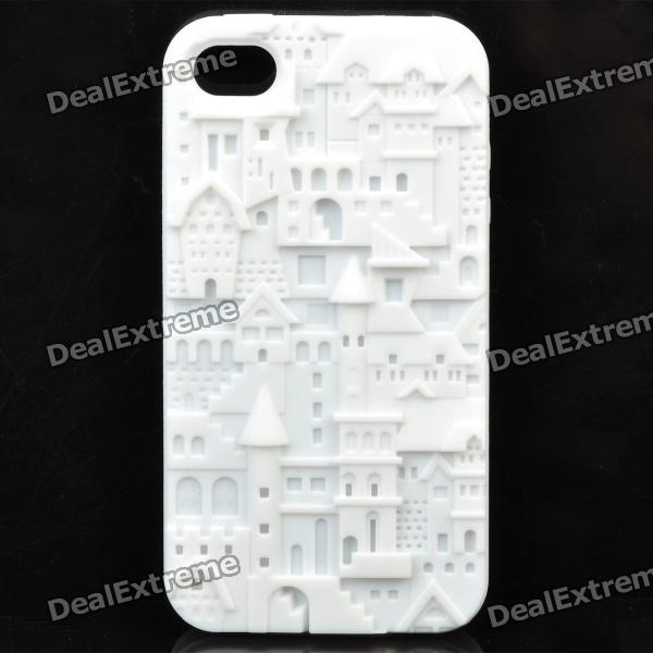 Protective Anaglyph Castle Style Silicone Case for Iphone 4 / 4S - White stylish piano style soft silicone case for iphone 4 4s pink