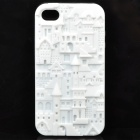 Protective Anaglyph Castle Style Silicone Case for Iphone 4 / 4S - White
