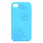Protective Anaglyph Rose Style Silicone Case for iPhone 4 / 4S - Blue