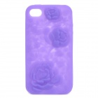 Protective Anaglyph Rose Style Silicone Case for iPhone 4 / 4S - Purple