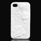 Protective Anaglyph Rose Style Silicone Case for iPhone 4 / 4S - White