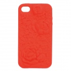 Protective Anaglyph Rose Style Silicone Case for iPhone 4 / 4S - Red