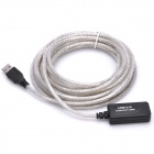 USB 2.0 Male to Female Signal Amplification Extension Cable - Transparent Grey (5M-Cable Length)