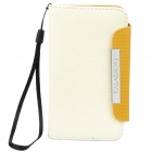 KALAIDENG Protective PU Leather Flip-Open Case for Meizu MX - Beige + Orange
