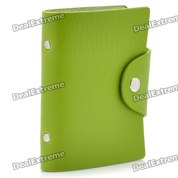 Stylish PU Leather Business Credit Card Holder Case Bag (18-Pocket / Green) stylish pu leather business credit card holder case bag 18 pocket green