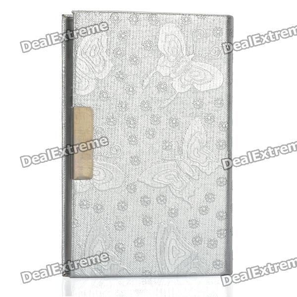 Elegant Butterfly Pattern PU Leather Metal Name Card Business Card Holder Case - Silver 1 design laser cut white elegant pattern west cowboy style vintage wedding invitations card kit blank paper printing invitation